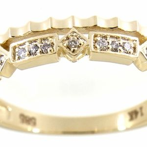 Solid 14K Yellow Gold Diamond Fine Ring Jewelry